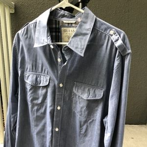 Guess Blue Chambray Denim collared Cotton Captain